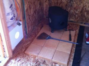 煉瓦を敷いて床を保護