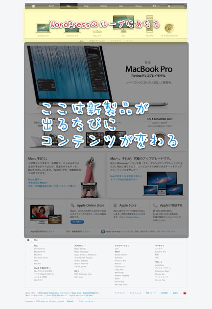 AppleのMacページは新製品が出るとコンテンツが変わる