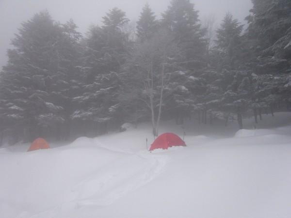 行者小屋の前にはテント泊する人も