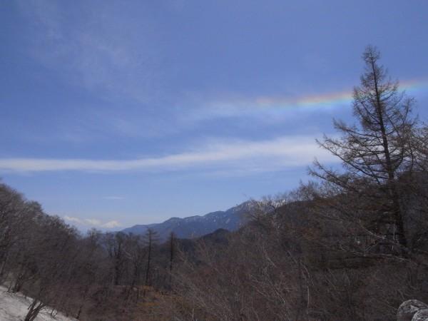 山頂から見えた富士山と虹