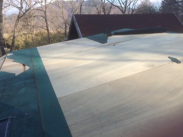 屋根に貼っていた緑のシートがふっとんでた