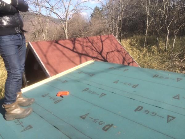 屋根を貼り終わった