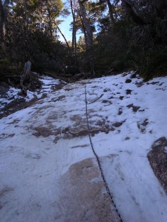これは大日小屋の手前。ちょっと積雪している。