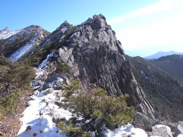 左上に見えているのが山頂。ここからまだ1時間弱はかかりそう。